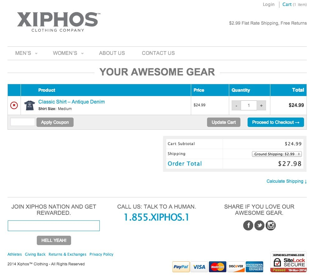 Xiphos clothing website design