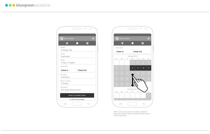 Corporate booking app, android wireframe