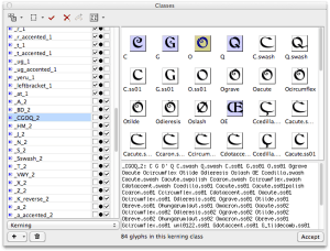 Kerning class definition in FontLab Studio 5.2 (image)