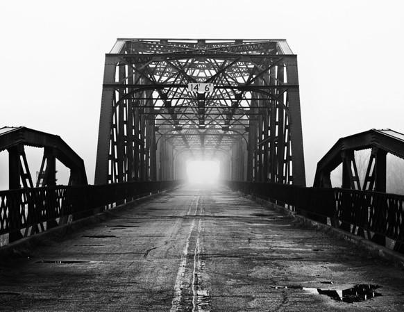 Route 66 Bridge in Fog. Oklahoma City, OK.