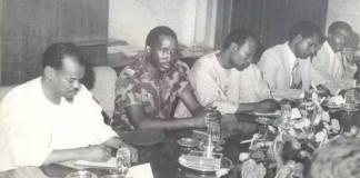 De gauche à droite, Arba Diallo, Thomas Sankara, Philippe Ouedraogo