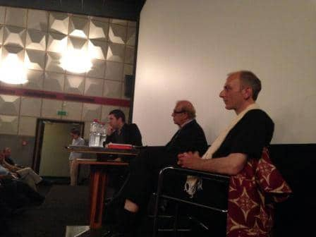 """Christophe Cupelin (1er plan), Jean Ziegler et Pascal Knoerr en avant première de """"Capitaine Thomas Sankara"""" au cinéma la Scala le 1er septembre 2014"""