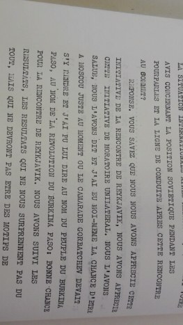 Photocopie Interview Thomas Sankara à l'agence Tass du 13 janvier 1987