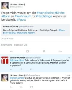 Das Bonner Münster reagiert via Twitter