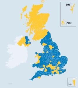 Die Brexit-Karte Großbritanniens mit Schottland © BBC