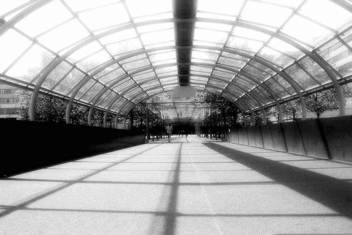 AfD zersetzt, zerstört, hasst. Sonst nichts. Foto © Tom Rübenach Das Foto zeigt einen überdachten Durchgang, dessen Konturen nach unten Schatten werfen.