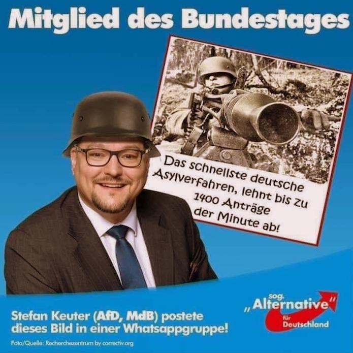 """Post des Bundestagsabgeordneten Keuter in einer """"Whatsapp""""-Gruppe: Am liebsten mit dem Sturmgewehr gegen Flüchtlinge. Screenshot Whatsapp"""