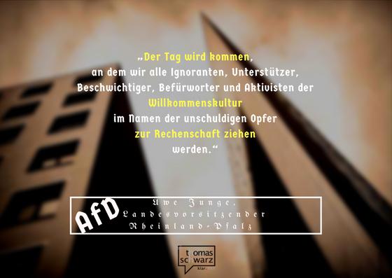 AfD prognostiziert Schlimmes bei einer möglichen Machtübernahme. Diue letzte Konsequenz wäre ein zweites Auschwitz.
