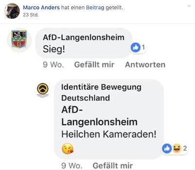 """Ein Bildschrimfoto aus Facebook. Darauf steht von einem AfD-Vertreter das Wort """"Sieg!"""". Darunter """"Heilchen Kameraden"""" von einem, der sich als """"Identitäre Bewegung Deutschland"""" zu erkennen gibt."""