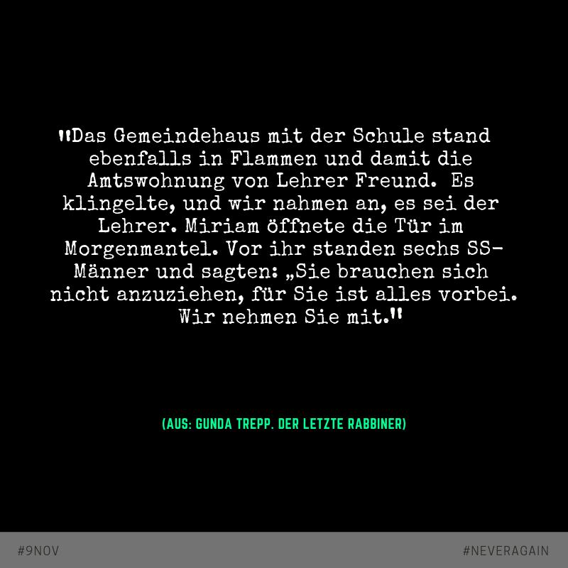 """Auszug aus dem Buch """"Der letzte Rabbiner"""" von Gunda Trepp"""