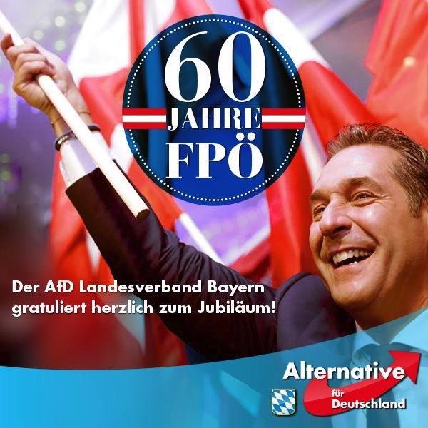 Glückwünsche der AfD an die FPÖ von Strache in einem Tweet der AfD.