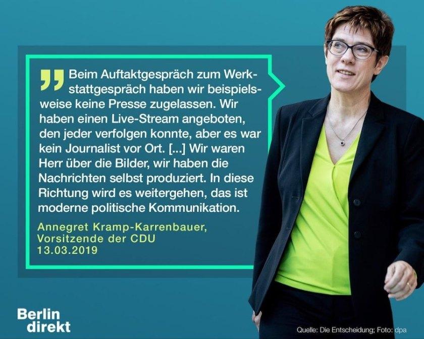 """AKK zum Ausschluss von Medien bei den Diskussionen der CDU. Quelle: """"Die Entscheidung"""" (das JU-Magazin)"""