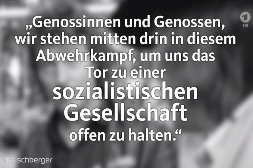 """Thema Sozialismus: Zitat Sigmar Gabriel aus 1985: """"Wir stehen mittem im Abwehrkampf, um das Tor zu einer sozialistischen Gesellschaft offen zu halten."""" Zitiert bei TV-Talkshow """"Maischberger"""" im Mai 2019."""