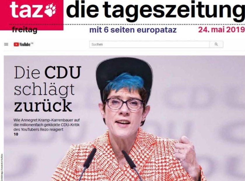 Die CDU-Vorsitzende Kramp-Karrenbauer auf dem Titel der Tageszeitung TAZ