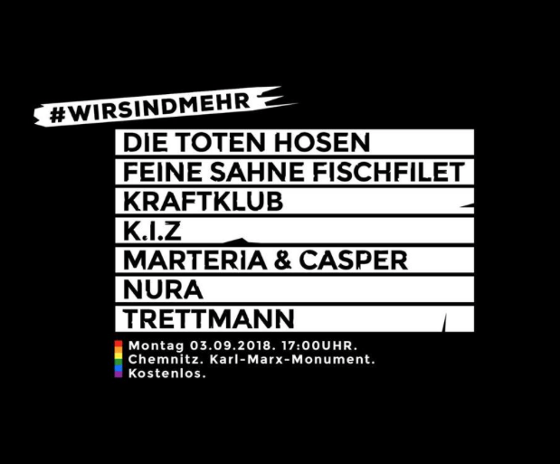 """Ankündigung der Aktion """"Wir sind mehr!"""", die in Chemnitz ein großes Konzert gegen Nazis planen."""