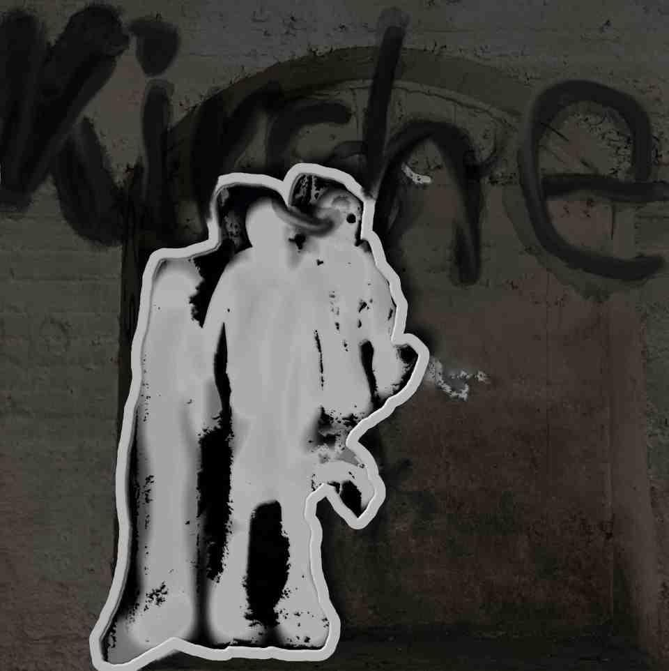 """Vor einem schwarzen Hintergrund an einer Mauer stehen drei stilisierte, weiße Gestalten. Über und hinter ihnen steht das Wort """"Kirche"""". Foto © Tom Rübenach"""