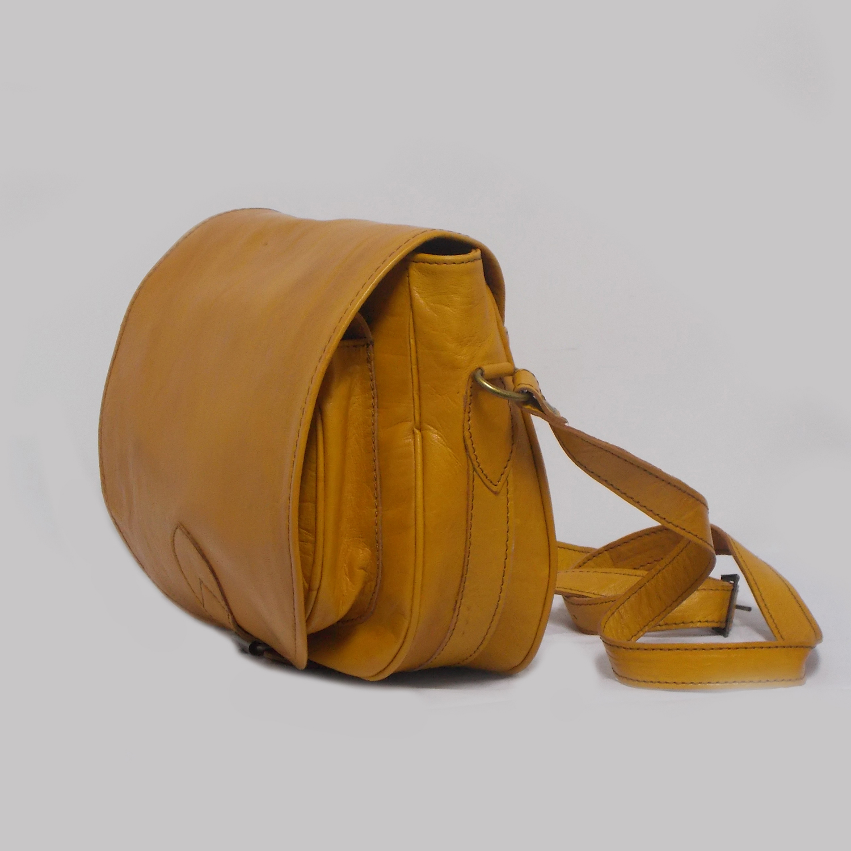 Shoulder Bag Yellow Handmade Leather Thomassi 2020