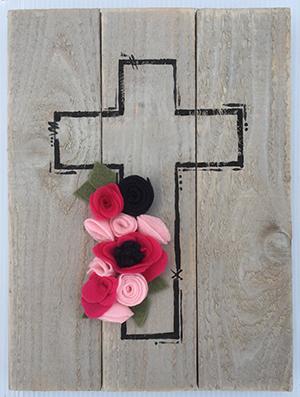 Felt flower cross
