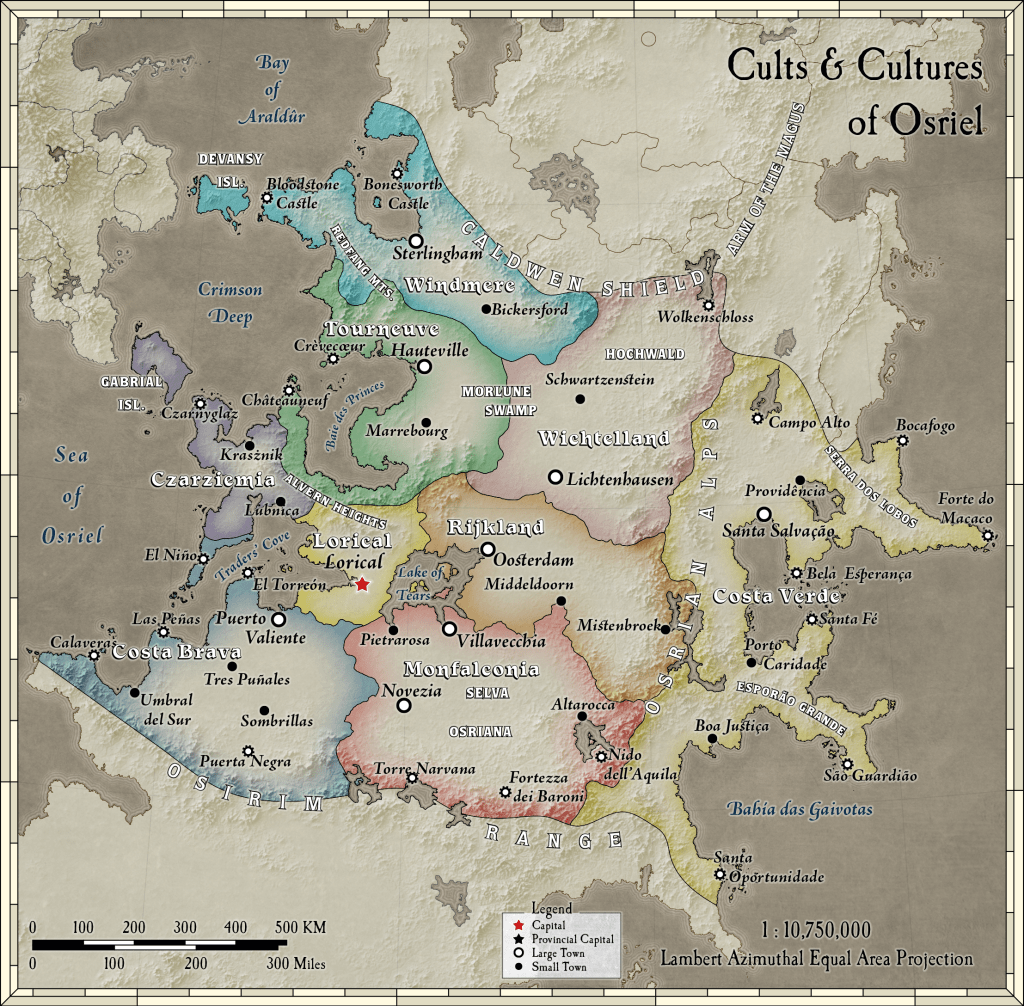 Osriel Political Map, Calidar CC1 Beyond the Skies