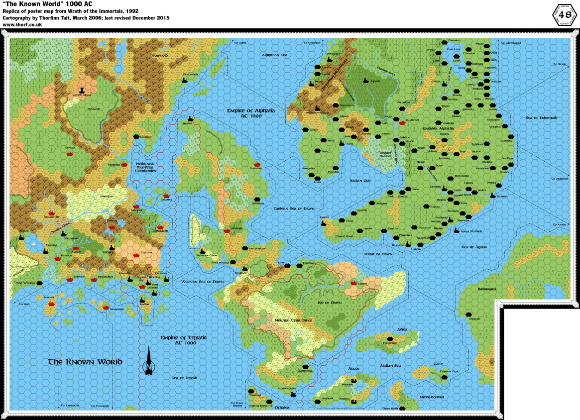 Wrath of the Immortals Known World 1000 AC map, 48 miles per hex