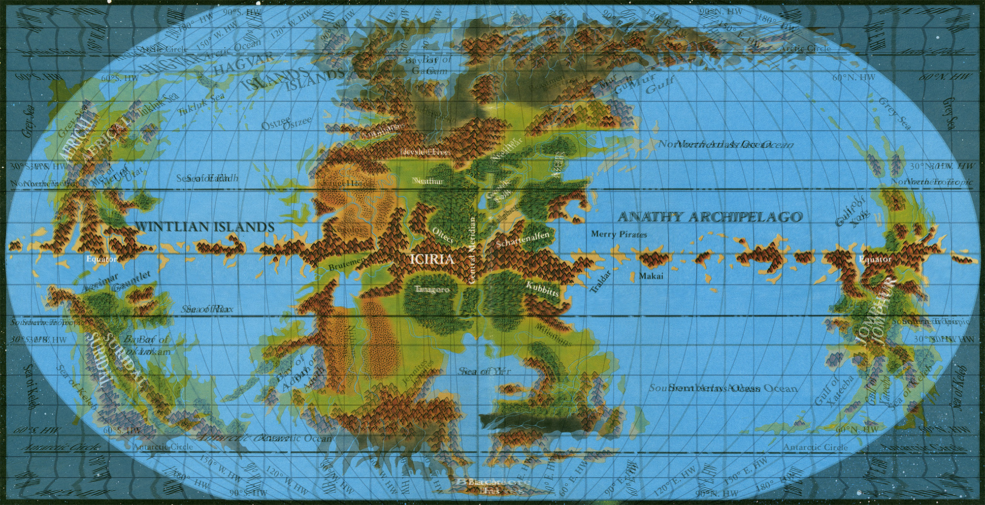 Atlas of mystara page 2 thorfinn tait cartography equirectangular world map on top of pseudo robinson world map note how the grid gumiabroncs Images