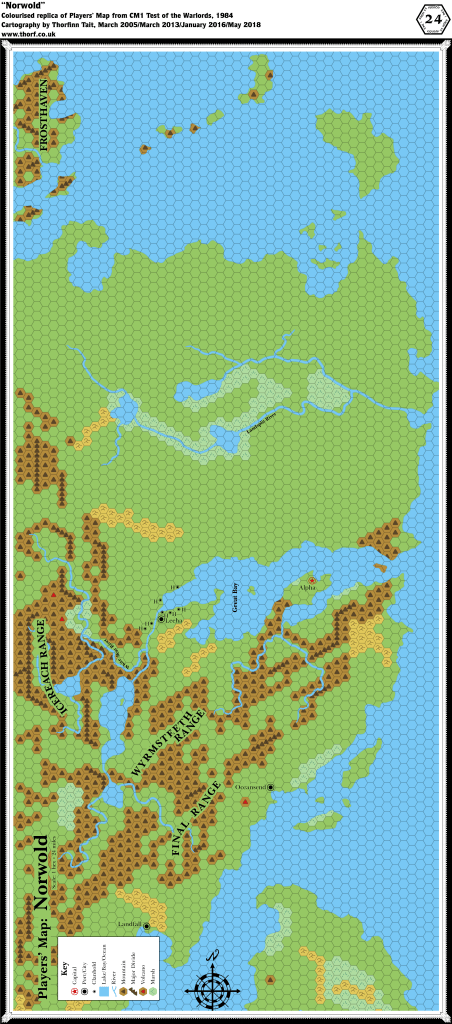 Colourised replica of Players' Map of Norwold from CM1, 24 miles per hex