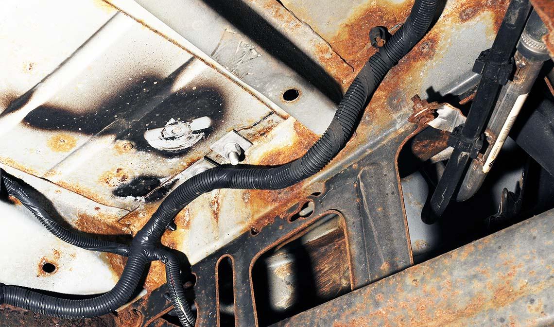 Rustskader på bil