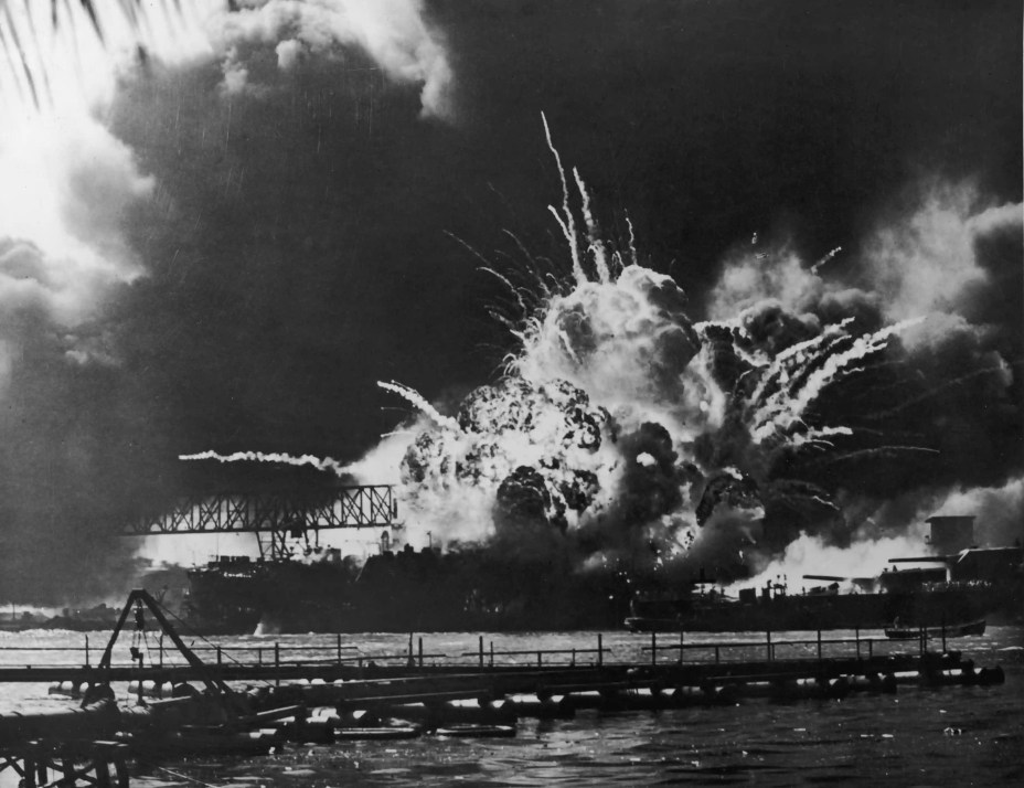 A view of the USS Shaw exploding at the U.S. Naval Base, Pearl Harbor, Hawaii,