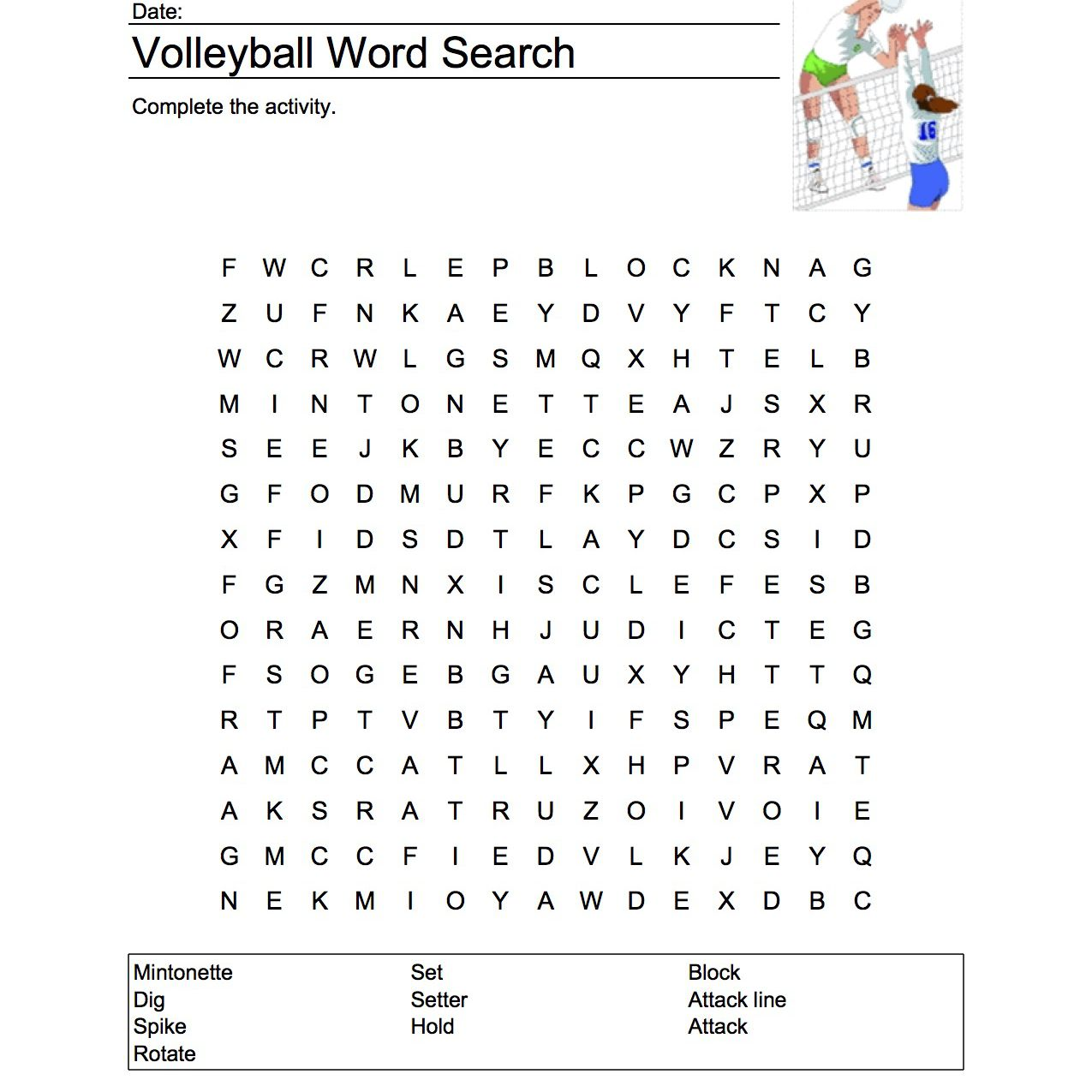 Volleyball Word Search Vocabulary Crossword And More