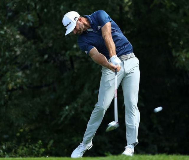 Dustin Johnson Tees Off During The  Bmw Championship Tournament
