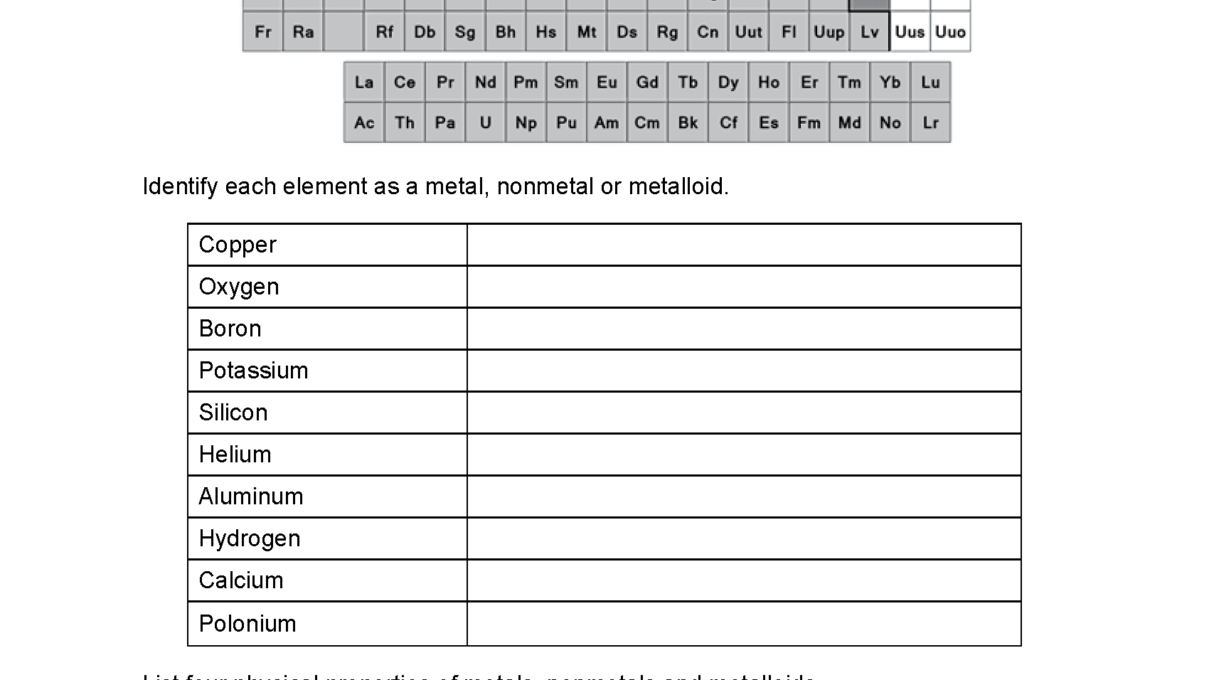 Metals Nonmetals And Metalloids Worksheet