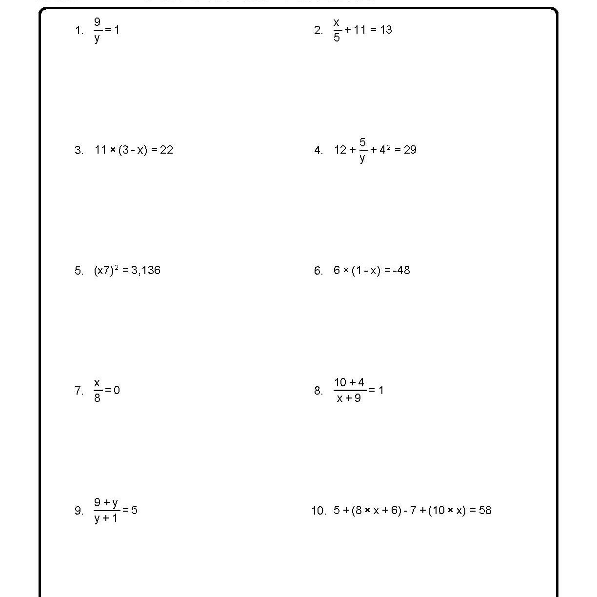 Solve For The Variables Worksheet 1 Of 10