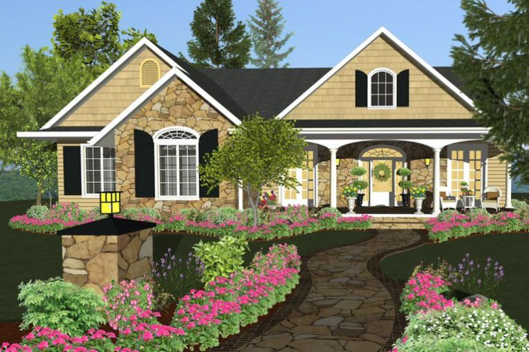 How to Pick the Best Home Design Software Program rendering of multi gabled home with colorful plantings along a stone  pathway to the wreathed