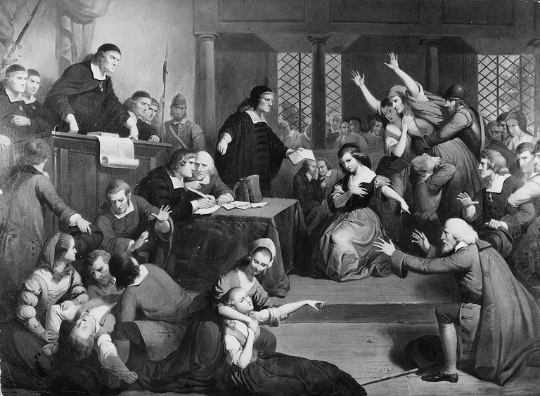 Painting of a Salem witch trial by Tompkins H. Matteson symbolizes the concept of moral panic.