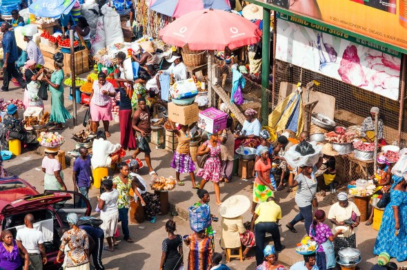 Aerial View of Street Scene With Market Stalls, Accra, Ghana