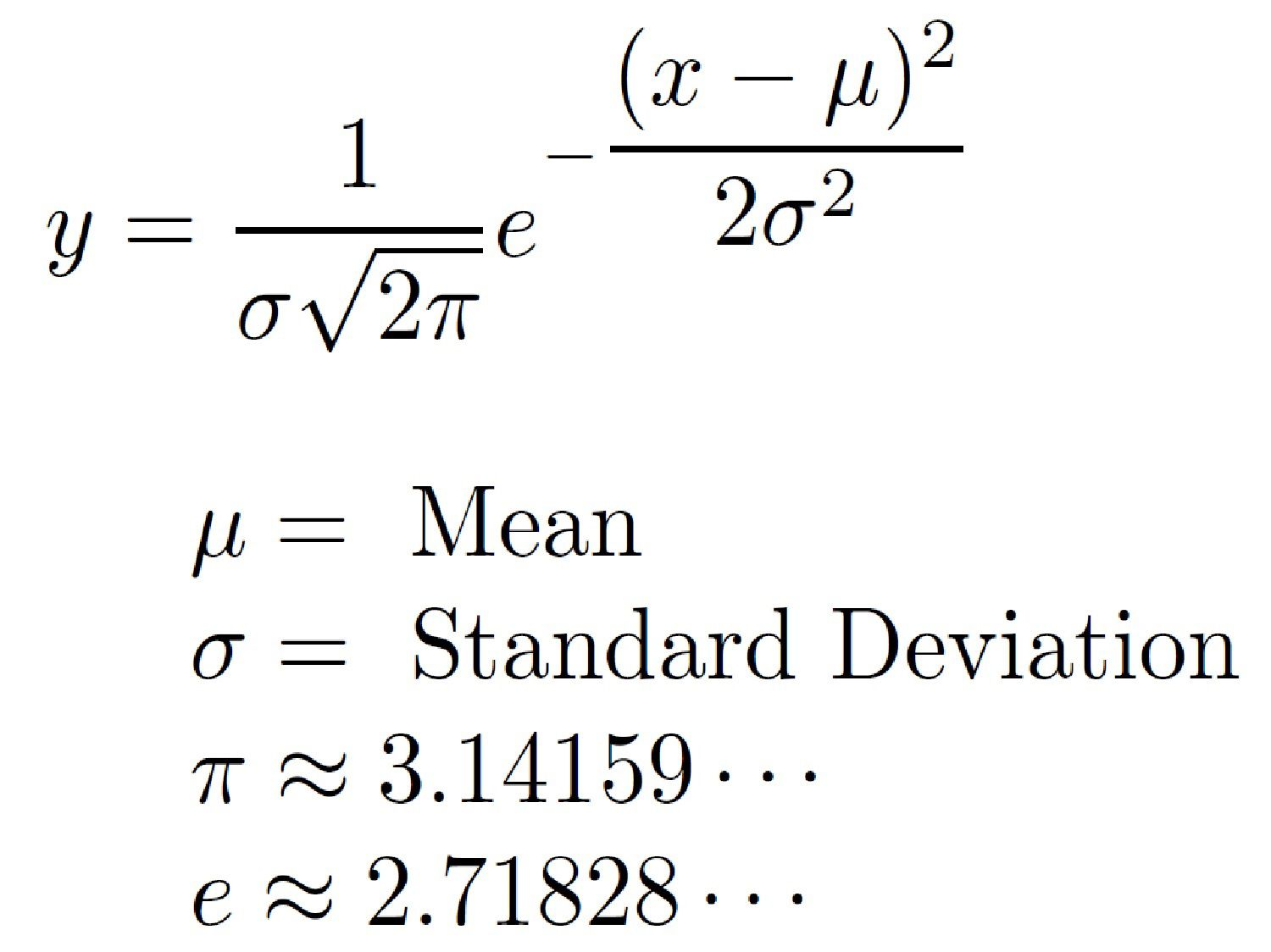 Formula For The Normal Distribution Or Bell Curve
