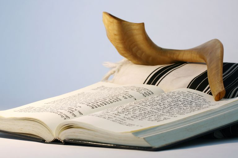 Prayer Service for the Jewish New Year Religious Judaic objects used for prayer   a shofar  tallis  and prayer  book
