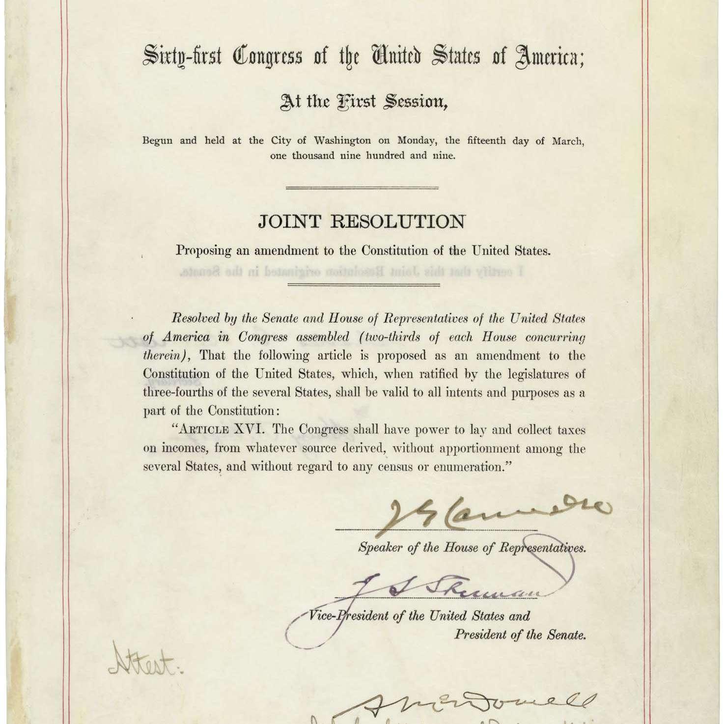 The 16th Amendment Establishing Federal Income Tax