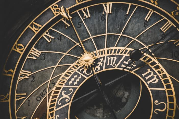 A close-up of the clock from a clock tower.
