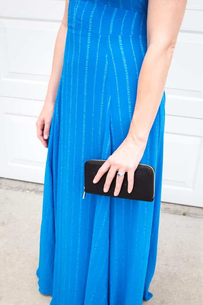 Blue Embroidered Maxi Dress For A Night Out