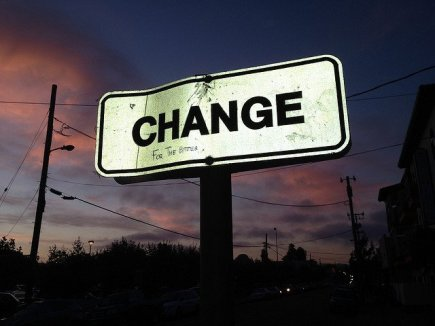 The Word Change on a Road Sign