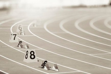 Starting Blocks on a Track for Runners
