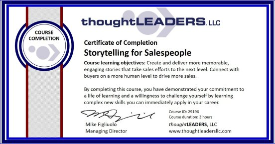 TITAN eLearning Certificate - Storytelling for Salespeople