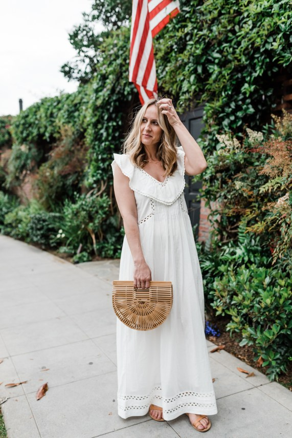 4th of July   Red WHITE and Blue   styling a white maxi dress   thoughtsbybrandi.com