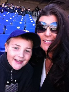 Sarah Centrella and son at Raven's game
