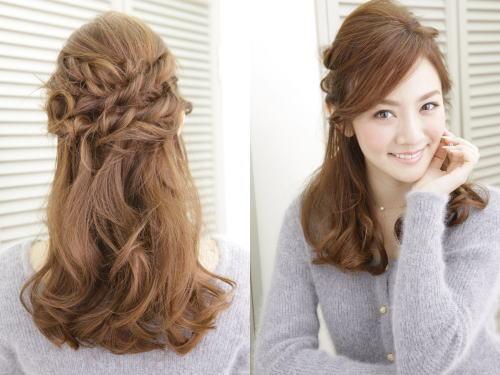 結婚式の髪型でマナーハーフアップ画像