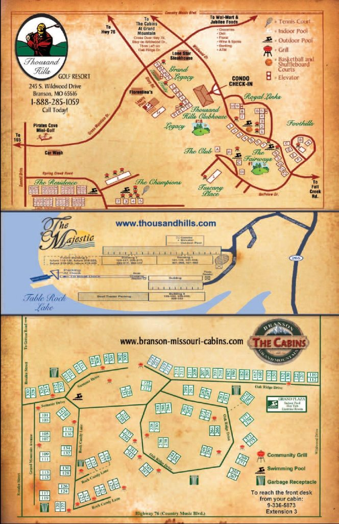 Branson Weather And Branson Maps ThousandHillscom - Printable map of branson mo