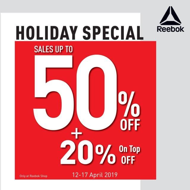 Reebok SALE ลดสูงสุด 50% + 20% on top ที่ Reebok Shop ทุกสาขา วันนี้ - 17 เมษายน 2562