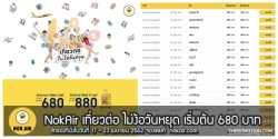 Nok Air จองตั๋ว นกแอร์ ลดราคา ราคาถูก วันที่ 17 – 23 เมษายน 2562