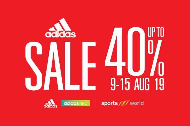 Adidas Sale รองเท้า อาดิดาส ลดสูงสุด 40% ที่ Sportsworld 9 - 15 สิงหาคม2562